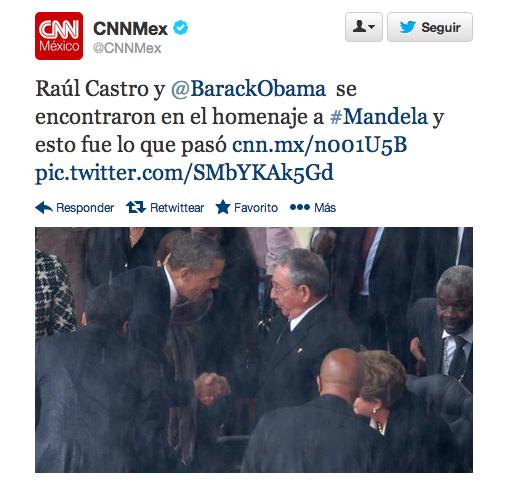 Momento histórico. Tras más de medio siglo, por primera vez dos mandatarios de EEUU y Cuba, Obama y R.Castro, se estrechaban la mano en los funerales de Nelson Mandela.