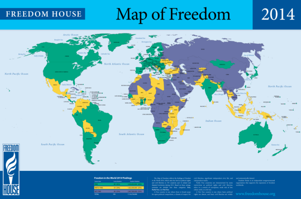 Mapa de la Libertad 2014 (Freedom House)